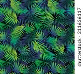 seamless tropical jungle floral ... | Shutterstock .eps vector #211636117