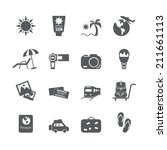 vacation icon set  vector eps10. | Shutterstock .eps vector #211661113