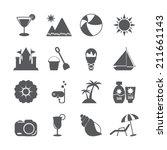 summer beach icon set  vector... | Shutterstock .eps vector #211661143
