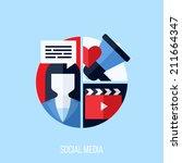 flat vector concept of social...