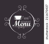 restaurant design over gray...   Shutterstock .eps vector #211670437