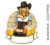 Pretty Cowgirl With Beer Mugs ...