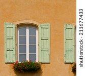 windows with open wooden... | Shutterstock . vector #211677433