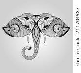 doodle elephant | Shutterstock . vector #211704937