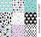 Seamless polar bears and christmas trees geometric abstracts pastel wrapping paper collection happy holidays background pattern in vector - stock vector