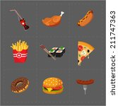 colorful fast food icon set on... | Shutterstock . vector #211747363
