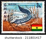 Small photo of GHANA - CIRCA 1967: a stamp printed in Ghana shows West African Lungfish, Protopterus Annectens, Freshwater Fish, circa 1967