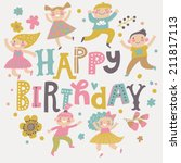 happy birthday background.... | Shutterstock .eps vector #211817113