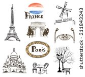 Paris icons set. Hand-drawn  sketch of France landmarks: Eiffel Tower Basilica of the Sacred Heart of Paris lamppost fashion Arc de Trimphe Moulin Rouge and outdoor restaurant - stock vector