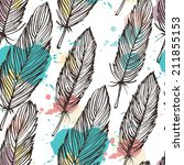 pastel colored feather seamless ... | Shutterstock .eps vector #211855153