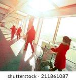 sunny on passengers in modern... | Shutterstock . vector #211861087