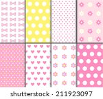 Set of cute baby seamless vector polka dot pattern. Pink, white and yellow color. texture can be used for sweet romantic wallpaper, fills, web page background. Heart, star, tie, flower shape. - stock vector