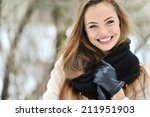 beautiful smiling woman face... | Shutterstock . vector #211951903