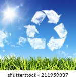 cloud shaped icon recycling    Shutterstock . vector #211959337