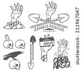 funny halloween zombie labels ... | Shutterstock .eps vector #211967047