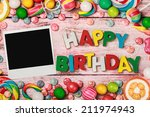 letters of cookies and happy... | Shutterstock . vector #211974943