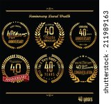 Anniversary laurel wreath retro labels, 40 years