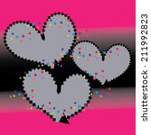 abstract gray heart on a pink... | Shutterstock .eps vector #211992823