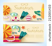 summer vecetion time horizontal ... | Shutterstock .eps vector #212001433