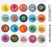 insurance icons set in flat... | Shutterstock .eps vector #212018377