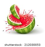 juicy ripe watermelon cuts with ... | Shutterstock .eps vector #212030053