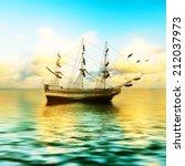 sailboat against a beautiful... | Shutterstock . vector #212037973