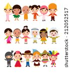happy world kids set with... | Shutterstock .eps vector #212052517
