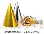 party hats paper streamer and... | Shutterstock . vector #212123947