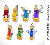 set of cartoon pencil    Shutterstock .eps vector #212145727