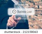businessman pressing a business ... | Shutterstock . vector #212158063
