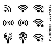 set black vector wireless and... | Shutterstock .eps vector #212193553