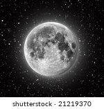 Full Moon in High Resolution with stars in the background - stock photo