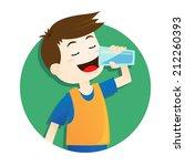 boy drinking water | Shutterstock vector #212260393