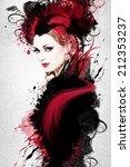 beautiful woman  artwork with... | Shutterstock . vector #212353237