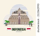 Borobudur. indonesia landmark. asean set - vector illustration