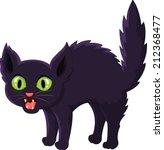 Stock vector frightened cartoon black cat 212368477