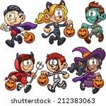 cartoon halloween kids. vector... | Shutterstock .eps vector #212383063