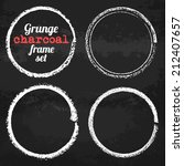 set of four grunge circle chalk ... | Shutterstock .eps vector #212407657