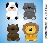 Cute Cartoon Dog  Cat  Bear An...