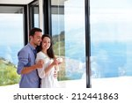 romantic happy young couple... | Shutterstock . vector #212441863