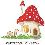 mushroom house and worm
