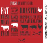 vintage steak menu with a pig   ... | Shutterstock .eps vector #212504347