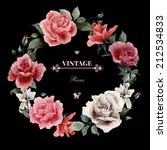 wreath of roses  watercolor ...   Shutterstock . vector #212534833