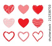 vector hearts set. hand drawn | Shutterstock .eps vector #212538703