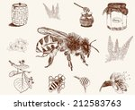 honey set. hand drawn vintage... | Shutterstock .eps vector #212583763