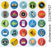 Set Of Music Icons In Flat...