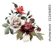 Stock photo bouquet of roses and peonies watercolor can be used as greeting card invitation card for wedding 212636803