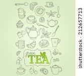 hand drawn green tea doodle... | Shutterstock .eps vector #212657713
