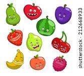 cartoon fruits and berries ... | Shutterstock .eps vector #212668933