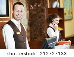 happy receptionist worker... | Shutterstock . vector #212727133